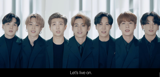 BTS shared a message of hope during the 75th United Nations General Assembly held on Sept. 23, urging everyone to find the stars within themselves and live on despite the Covid-19 pandemic. [SCREEN CAPTURE]