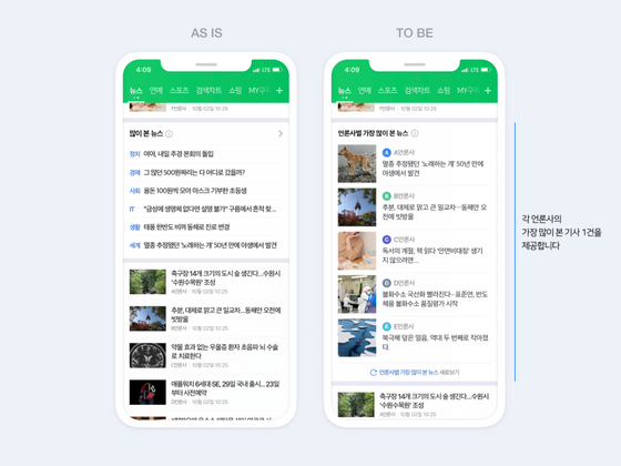 """Naver unveiled its new layout for the news section on the mobile app, which will no longer have the list of """"most-viewed"""" news. [NAVER]"""