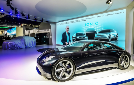 Hyundai Motor introduces its all-electric Prophecy concept sedan at the Beijing motor show on Sept. 26. [HYUNDAI MOTOR]