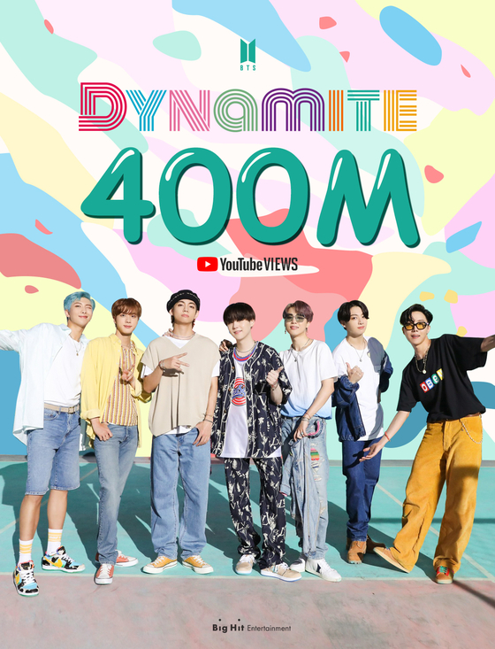 """A promotional image celebrates the 400 million-view milestone reached on Friday by the K-pop superstar band BTS's official music video for its latest single """"Dynamite"""" on YouTube. [BIG HIT ENTERTAINMENT]"""