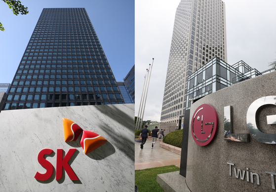 Headquarters of SK Innovation and LG Chem in Seoul. [YONHAP]