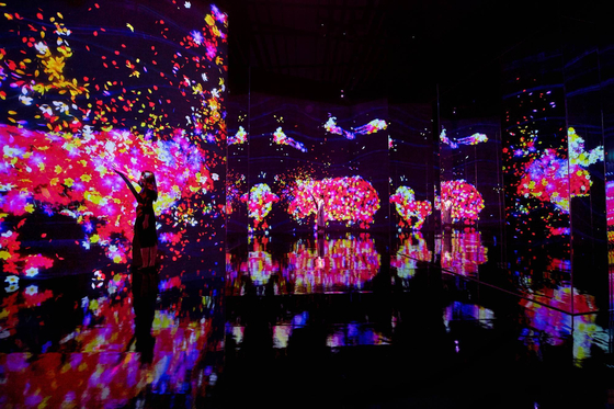 """The digital art collective teamLab's interactive work 'Animals of Flowers, Symbiotic Lives II,"""" installed at the Dongdaemun Design Plaza (DDP). [TEAMLAB]"""