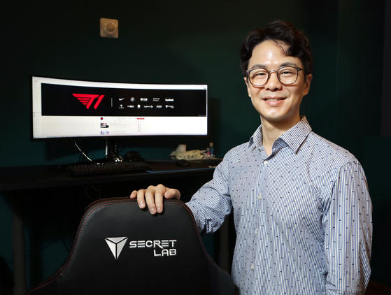John Kim, COO of T1, poses for a photo in his office at T1's headquarters in Gangnam, southern Seoul on Sept. 2. [PARK SANG-MOON]