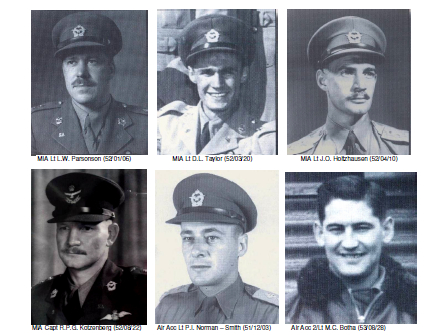 """The South African Air Force No.2 Squadron members who were listed as 'Killed in Action"""", 'Missing in Action"""" or who died in 'Fatal Aircraft Accidents"""" and whose remains have not yet been found. [SOUTH AFRICAN AIR FORCE MUSEUM/ SOUTH AFRICAN KOREAN WAR VETERANS ASSOCIATION]"""