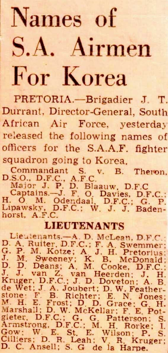 Names of first pilots dispatched to the Korean War, published in a newspaper in South Africa on Aug. 28, 1950. [SOUTH AFRICAN KOREAN WAR VETERANS ASSOCIATION]