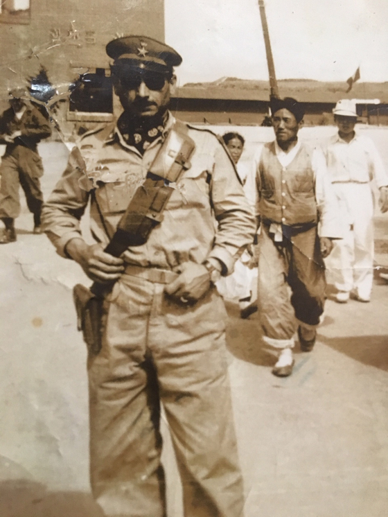 Sergeant Major Antonio Santoro in Yeongdeungpo District, western Seoul, where the Italian field hospital was, in 1952. [MICHELE SANTORO]