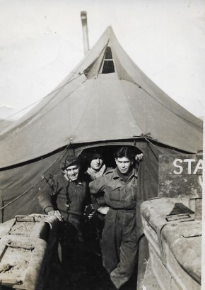 Victor Swift, who served from April 1953 to June 1954 as a corporal in the Royal Electrical and Mechanical Engineers Corps, far right, in this photo taken just south of the Pintail Bridge over the Imjin River in 1953. [VICTOR SWIFT]