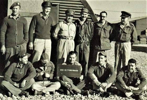 Sergeant J.J.E. Louw, second from left in second row in Korea in 1953. [SOUTH AFRICAN KOREAN WAR VETERANS ASSOCIATION]