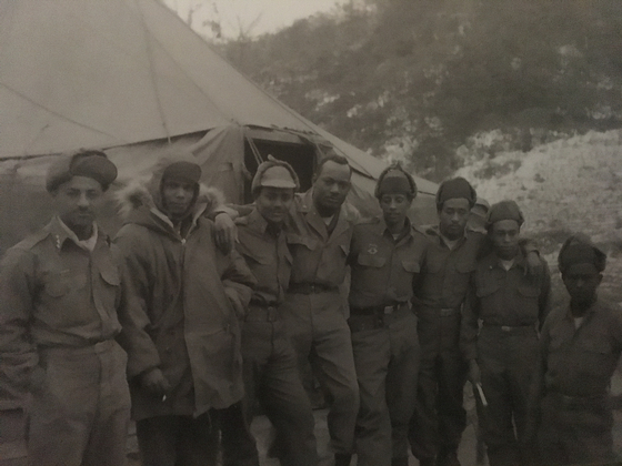 Melesse Tessema Debela, an Ethiopian veteran of the Korean War (1950-1953), second from left, with other Ethiopian soldiers during the war. [MELESSE TESSEMA DEBELA]