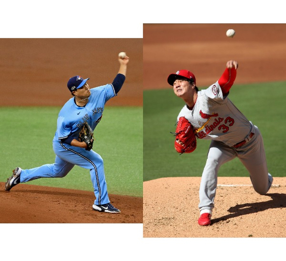 Left: Ryu Hyun-jin of the Toronto Blue Jays throws a pitch during Game 2 of the Wild Card Series against the Tampa Bay Rays at Tropicana Field in Florida on Wednesday. Right: Kim Kwang-hyun of the St. Louis Cardinals throws a pitch during Game 1 of the Wild Card Series against the San Diego Padres at Petco Park in San Diego on Wednesday. [GETTY IMAGES/YONHAP]