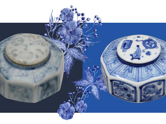 Based on the recent research results on a set of Princess Hwahyeop's cosmetics, the National Palace Museum of Korea, the Korea National University of Cultural Heritage and Cosmax plan to launch a K-beauty brand Princess Hwahyup by November. Left is a white porcelain octagonal flat jar with the seven treasures motifs found inside the princess's makeup box and right is the redesigned porcelain jar by the three institutions for the new K-beauty products. [CULTURAL HERITAGE ADMINISTRATION]