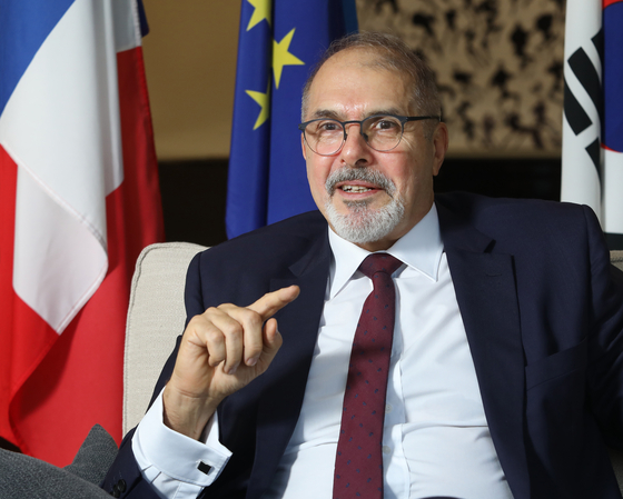 Philippe Lefort, ambassador of France to Korea, speaks with the Korea JoongAng Daily at his residence in central Seoul on Sept. 22. [PARK SANG-MOON]