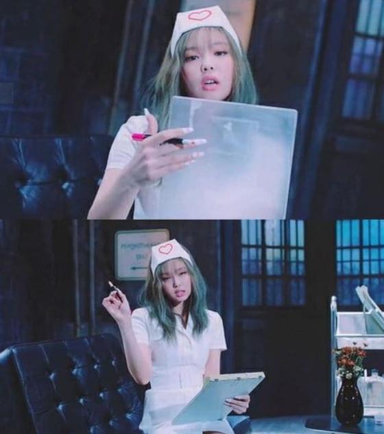 "Blackpink Jennie in the music video of ""Lovesick Girls."" [YG ENTERTAINMENT]"