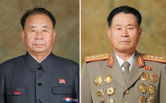 Ri Pyong-chol, left, and Pak Jong-chon, two of North Korean leader Kim Jong-un's most trusted military advisers, were appointed to the country's highest armed forces rank of Marshal on Monday. [YONHAP]