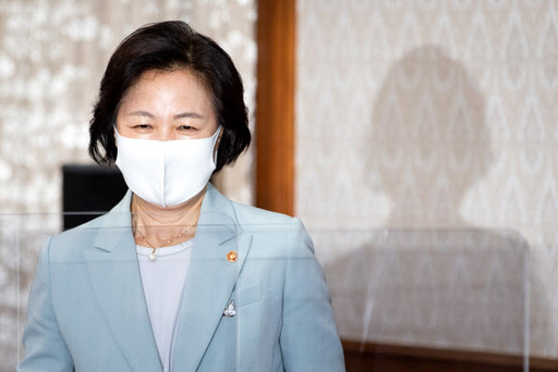 Justice Minister Choo Mi-ae attends a cabinet meeting last week. [NEWS1]