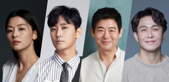 """From left, actors Jun Ji-hyun, Ju Ji-hoon, Sung Dong-il and Oh Jung-se feature in the upcoming tvN drama series """"Cliffhanger,"""" set to air next year. [TVN]"""