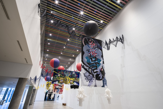 """Five Doing Un-doing"" by Haegue Yang installed at MMCA Seoul. [MMCA]"