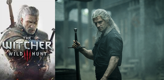The Witcher game, left, and a Netflix remake, right. [SCREEN CAPTURE, NETFLIX]