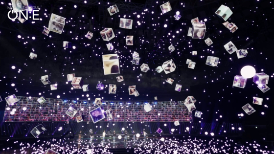 """Fans' faces are turned into floating cubes to fill the arena during the performance of 'We are Bulletproof: the Eternal"""" on Saturday during the 'BTS Map of the Soul ON:E"""" concert. [BIG HIT ENTERTAINMENT]"""