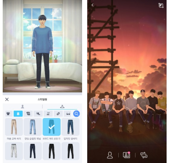 Users can change each members' outfits, left, and take pictures with them all together against different backgrounds, right. [NETMARBLE]
