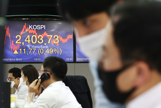 A screen shows the closing figures for the Kospi in a trading room at Hana Bank in Jung District, central Seoul, on Oct. 12. [YONHAP]
