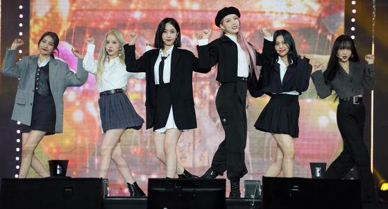 Members of GFriend perform at INK Concert on Oct. 10. [INK CONCERT]