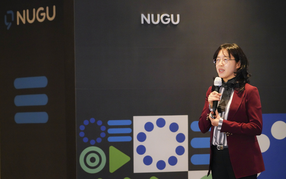 Park Myung-soon, senior vice president and head of SK Telecom's AI business office, introduces the T Phone dialer app equipped with the company's voice-recognition system Nugu on Monday. [SK TELECOM]