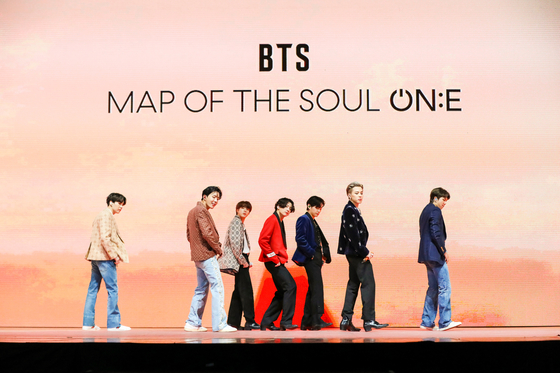 """BTS performs during its second online concert 'BTS Map of the Soul ON:E"""" held on Saturday. [BIG HIT ENTERTAINMENT]"""