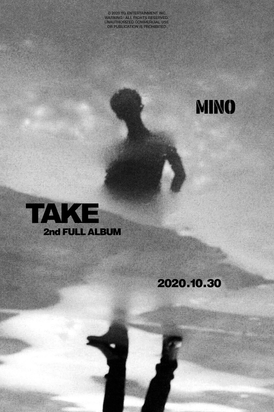 "Poster for Mino's second full-length album ""Take"" was released by YG Entertainment on Thursday. [YG ENTERTAINMENT]"
