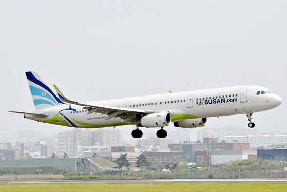 An Air Busan plane takes off. The budget carrier starts flying its Busan-Qingdao route on Thursday. [AIR BUSAN]