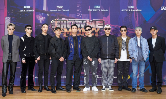 "The music producers and judges for the ninth season of cable channel Mnet's hip-hop audition program ""Show Me The Money"" stand for photos prior to the online press conference held on Friday afternoon. [MNET]"