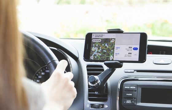 SK Telecom's T Map mobile navigation service. [SK TELECOM]