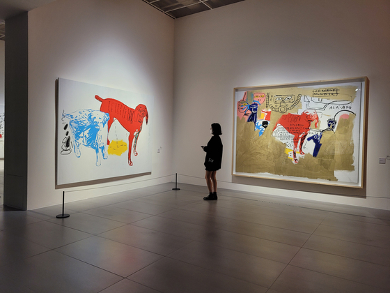 Collaboration works between Jean-Michel Basquiat and Andy Warhol on display as part of the exhibition. [MOON SO-YOUNG]