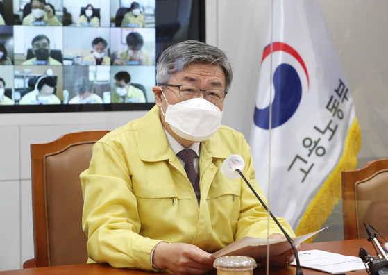 Employment and Labor Minister Lee Jae-kap speaks at a task force meeting which was held at the government complex in Sejong on Monday. [YONHAP]