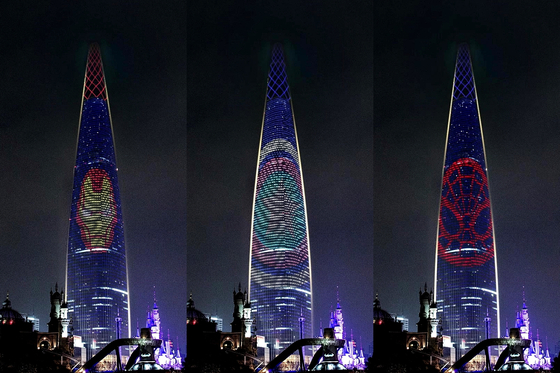 Marvel comic book characters, including Iron Man, Captain America and Spiderman, are on display on the Lotte World Tower, the tallest skyscraper in Korea, in celebration of Halloween. [LOTTE PROPERTY AND DEVELOPMENT]