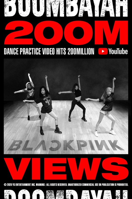 """Girl group Blackpink's dance practice video for """"Boombayah"""" exceeded 200 million views on YouTube. [YG ENTERTAINMENT]"""