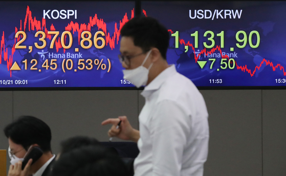 A screen shows the closing figure for the Kospi in a trading room at Hana Bank in Jung District, central Seoul, on Wednesday. [NEWS 1]