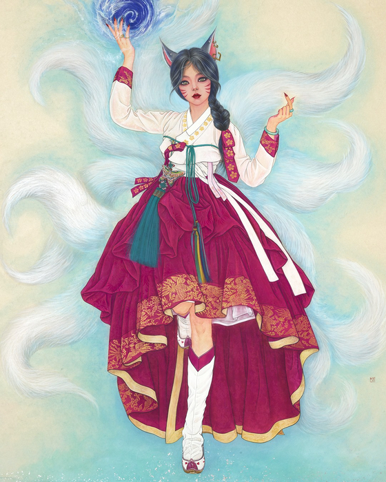 League of Legends' champion Ahri in hanbok, or traditional Korean dress, for an online exhibition to mark Hanbok Day, which falls on Oct. 21. [RIOT GAMES]