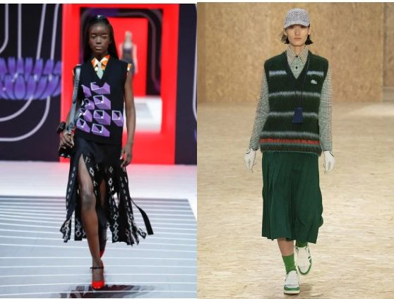 Knitted vests on Prada and Lacoste runways. [PRADA, LACOSTE]