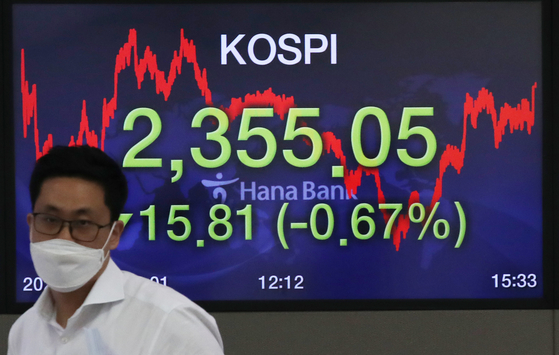 A screen shows the closing figure for the Kospi in a trading room at Hana Bank in Jung District, central Seoul, on Thursday. [NEWS 1]