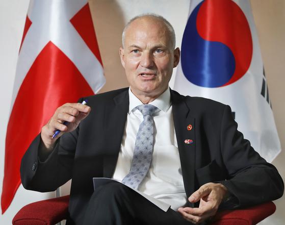 Ambassador of Denmark to Korea, Einar Hebogard Jensen, speaks to the Korea JoongAng Daily at the embassy on Sept. 28. [PARK SANG-MOON]