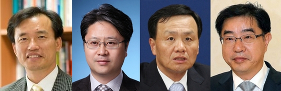 Four of the seven-member committee that will nominate the candidates to head the Corruption Investigation Office for High-Ranking Officials. From left, Kim Jong-cheol, Park Kyung-jun, Lim Jung-hyuk and Lee Heon. Kim and Park were selected by the ruling Democratic Party and Lim and Lee by the opposition People Power Party. [YONHAP]