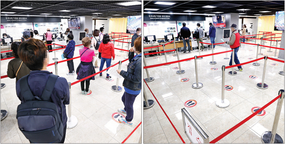 Left: People line up to get flu shots at a health clinic in Gangseo District, western Seoul, on Tuesday. Right: A day later, the same clinic is almost empty on Wednesday following several people dying after taking flu shots. [YONHAP]