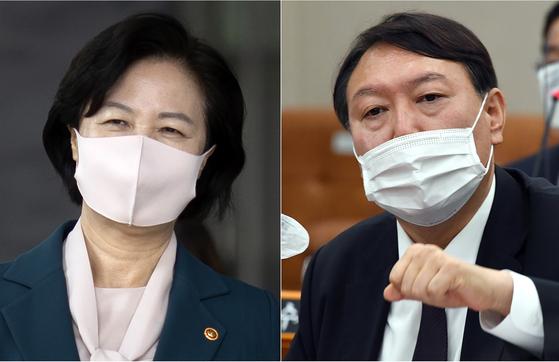 Justice Minister Choo Mi-ae, left, and Prosecutor General Yoon Seok-youl. [YONHAP]