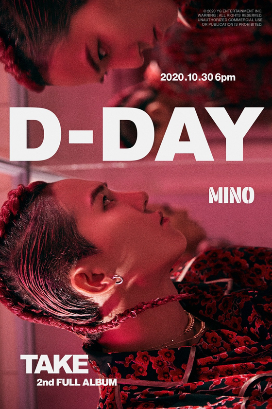 """Rapper Mino's second full-length album """"Take"""" dropped at 6 p.m on Friday. [YG ENTERTAINMENT]"""