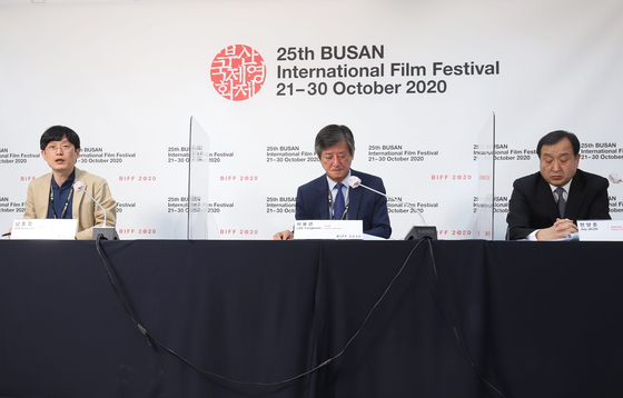From left, chief programmer Nam Dong-chul, Chairman Lee Yong-kwan and executive director Jeon Yang-jun participated at the online press event to wrap up the festival on Friday. [BIFF]