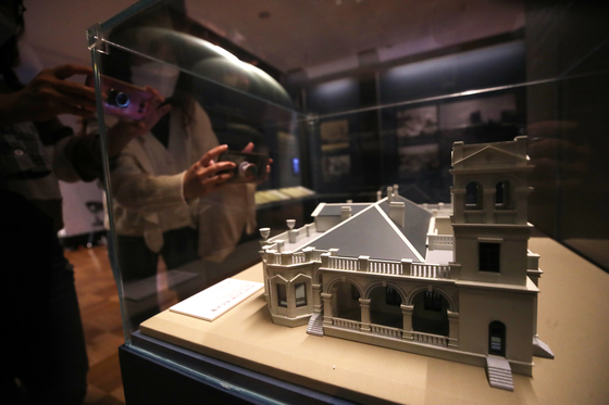 Models of 12 buildings presumed to be built by Sabatin, or whose construction he participated in, are on display at the special exhibition at Jungmyeongjeon in central Seoul. [YONHAP]