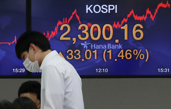 A screen shows the closing figure for the Kospi in a trading room in Hana Bank in Jung District, central Seoul, on Monday. [NEWS 1]