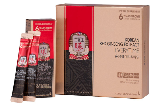 """CheongKwanJang offers a variety of red ginseng products including 'EveryTime,"""" a red ginseng extract packaged in a pouch. [KOREA GINSENG CORPORATION]"""