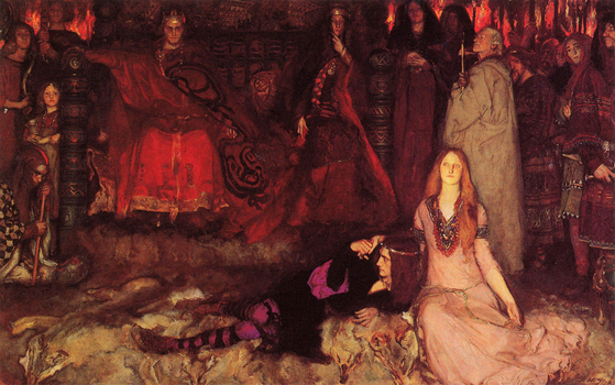 """A painting inspired by Edwin Austin Abbey inspired by William Shakespeare's """"Hamlet."""" [Yale University, New Haven]"""